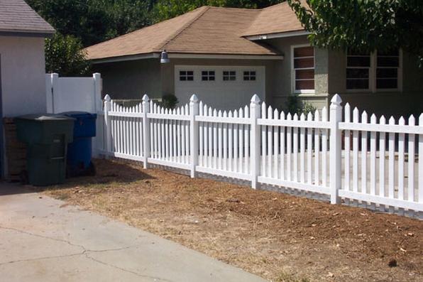 Custom White Picket Fence - Mesa Fence Co.