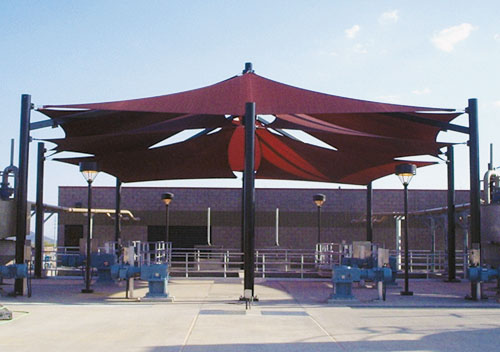 Lake Pleasant Water Treatment Plant Custom Super Span Multi Level - Phoenix, AZ - USA Shade & Fabric Structures