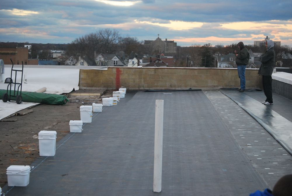 EPDM Roof installation in progress