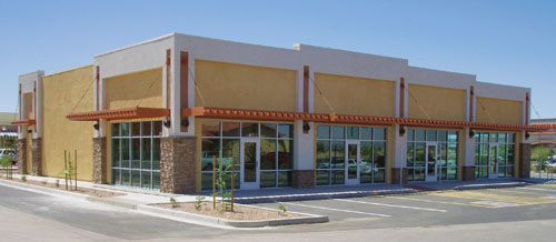 office retail space with building and complete site work