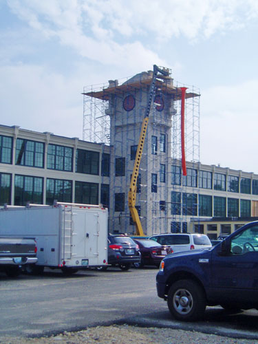 Clock Tower Restoration- Burrille, RI  - D.C. Scaffold, Inc.