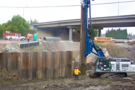 Sheetpile Installation for RR Bridge Expansion - B&B Hughes Construction, Inc.