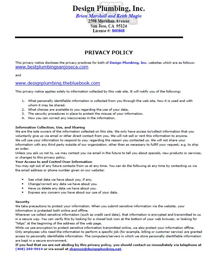 PRIVACY POLICY - Design Plumbing Inc.