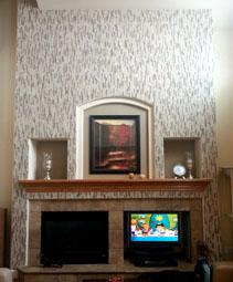 Tile Backsplash over Fireplace Mantel