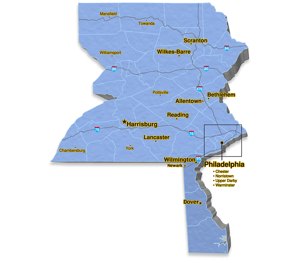 We are located in Bucks County.