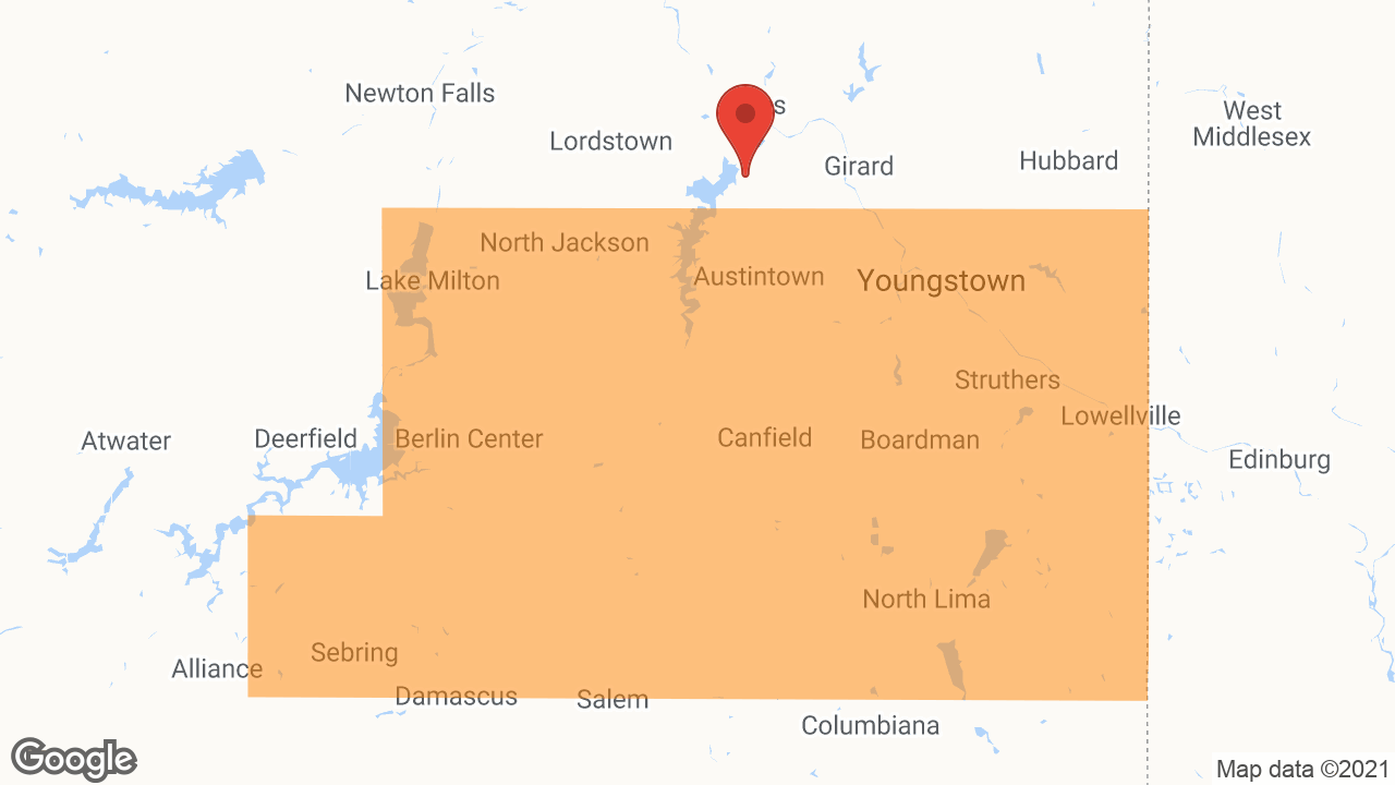 Service Area and Locations Map for Adolph Johnson & Son Co.